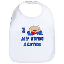 I Love TWIN Sister Blue Bib