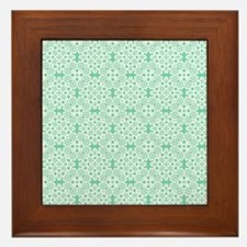 Lucite Green & White Lace 2 Framed Tile