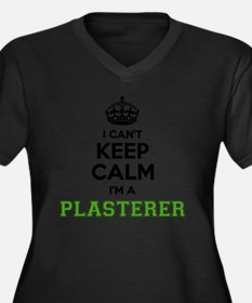 Cute Plasterer Women's Plus Size V-Neck Dark T-Shirt
