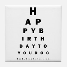 Optometrist Birthday Eye Chart Tile Coaster