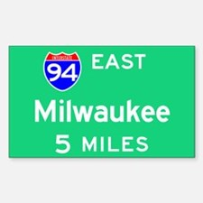 Milwaukee WI, Interstate 94 East Sticker (Rectangu
