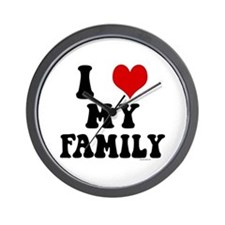 I Love My Family - I Heart My Family Wall Clock
