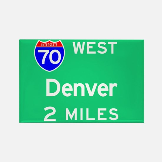 Denver CO, Interstate 70 West Rectangle Magnet
