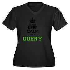 Cool Query Women's Plus Size V-Neck Dark T-Shirt