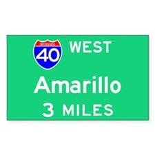 Amarillo TX, Interstate 40 West Sticker (Rectangul