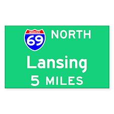Lansing MI, Interstate 69 North Sticker (Rectangul