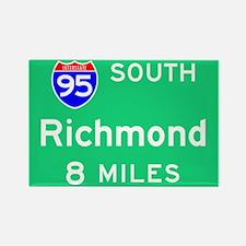 Richmond VA, Interstate 95 South Rectangle Magnet