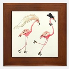 Bride and Groom Flamingos Framed Tile