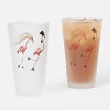 Bride and Groom Flamingos Drinking Glass