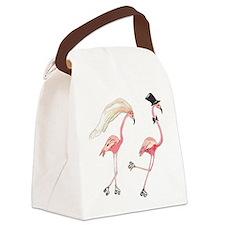 Bride and Groom Flamingos Canvas Lunch Bag