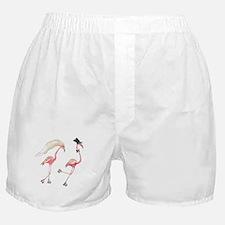 Bride and Groom Flamingos Boxer Shorts