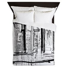 Black and White City Queen Duvet