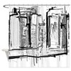 Black and White City Shower Curtain
