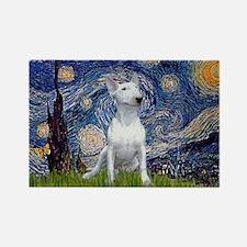 Starry Night/Bull Terrier Rectangle Magnet