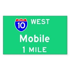 Mobile AL, Interstate 10 West Sticker (Rectangular