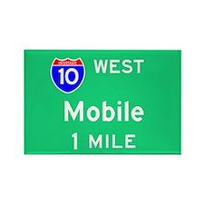 Mobile AL, Interstate 10 West Rectangle Magnet