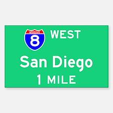 San Diego CA, Interstate 8 West Sticker (Rectangul