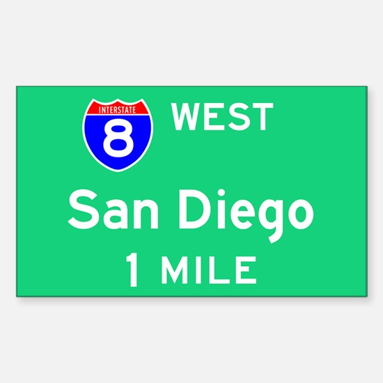 San Diego CA, Interstate 8 West Sticker (Rectangul