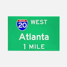 Atlanta GA, Interstate 20 West Rectangle Magnet
