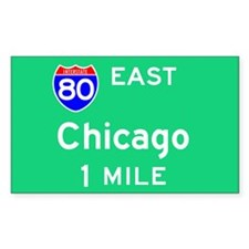 Chicago IL, Interstate 80 East Sticker (Rectangula