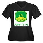 John 3:16 Women's Plus Size V-Neck Dark T-Shirt
