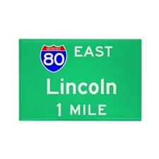 Lincoln NE, Interstate 80 East Rectangle Magnet