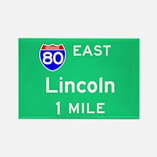 Lincoln NE, Interstate 80 East Rectangle Magnet