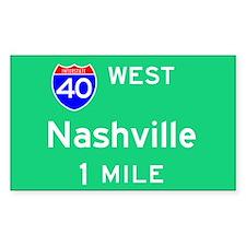 Nashville TN, Interstate 40 West Sticker (Rectangu