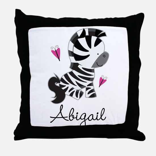 Zebra Zoo Animal Personalized Throw Pillow