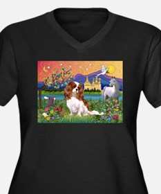 Fantasy Cavalier King Women's Plus Size V-Neck Dar