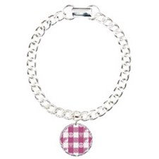 Pink Peace Plaid Charm Bracelet, One Charm