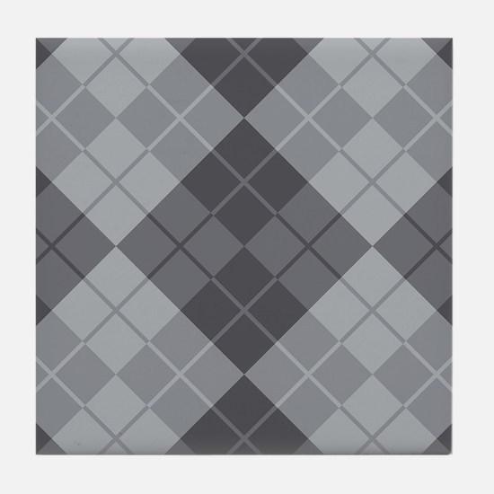 Grey Argyle Tile Coaster