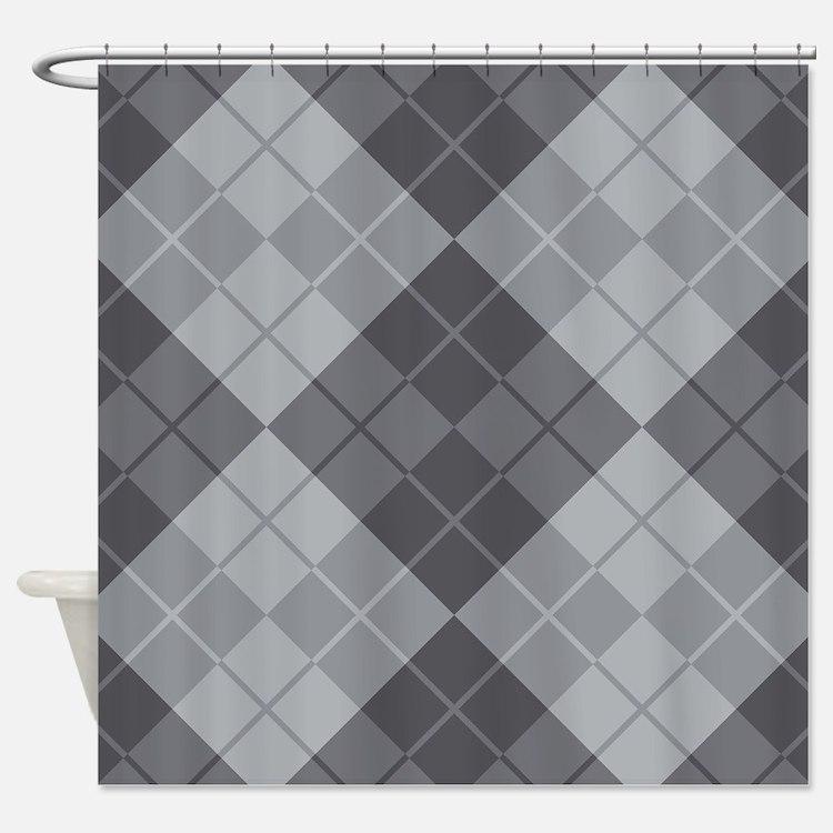 Grey Argyle Shower Curtain