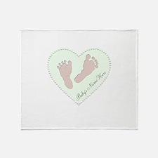 Baby Boys Name in Heart Throw Blanket