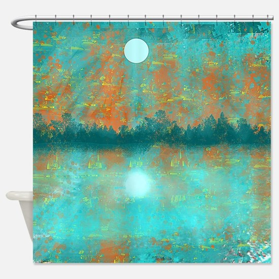 Land and Moon Shower CurtainTurquoise And Orange Shower Curtains   Turquoise And Orange Fabric  . Orange Shower Curtain Liner. Home Design Ideas