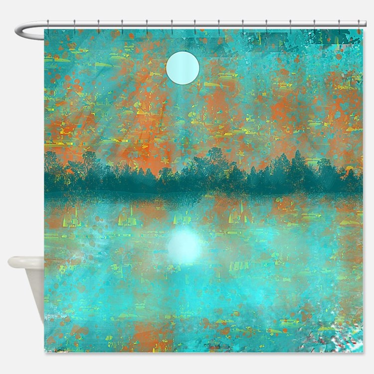 Turquoise And Orange Shower Curtains | Turquoise And Orange Fabric ...