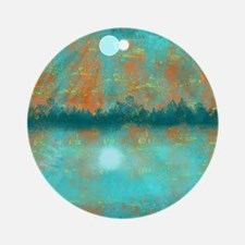 Land and Moon Round Ornament