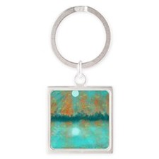 Land and Moon Square Keychain