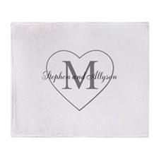 Romantic Monogram Throw Blanket