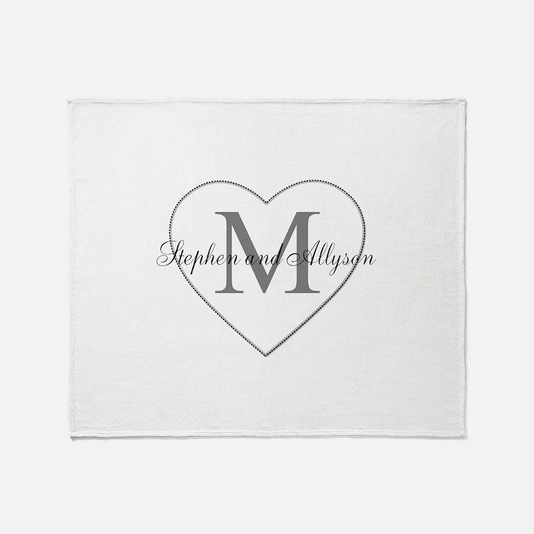 Romantic Monogram Throw Blanket