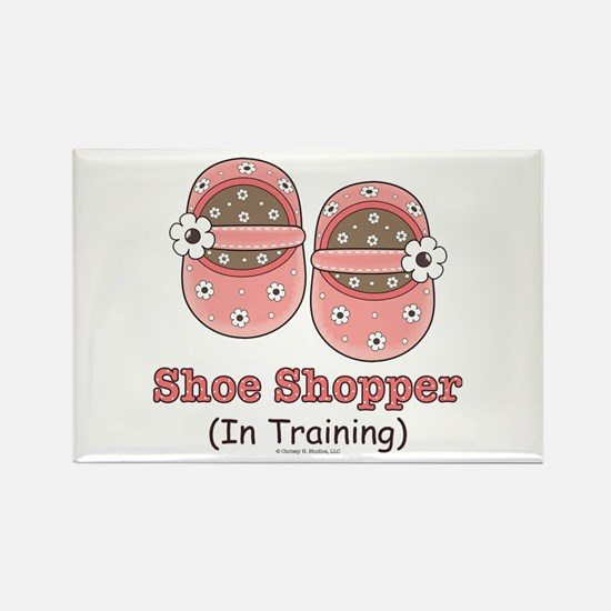 Pink Brown Baby Shoes Rectangle Magnet