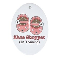 Pink Brown Baby Shoes Oval Ornament