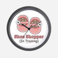 Pink Brown Baby Shoes Wall Clock