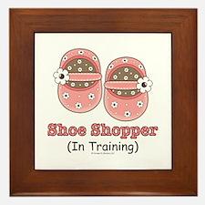 Pink Brown Baby Shoes Framed Tile