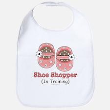 Pink Brown Baby Shoes Bib