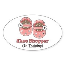 Pink Brown Baby Shoes Oval Decal