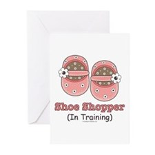 Pink Brown Baby Shoes Greeting Cards (Package of