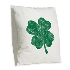 St Patricks Shamrock - Washed Burlap Throw Pillow