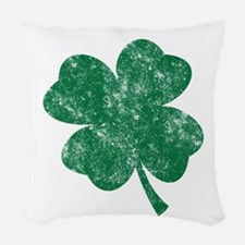 St Patricks Shamrock - Washed Woven Throw Pillow