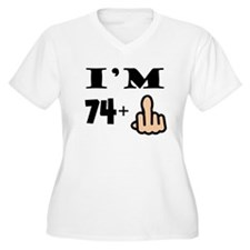Middle Finger 75th Birthday Plus Size T-Shirt